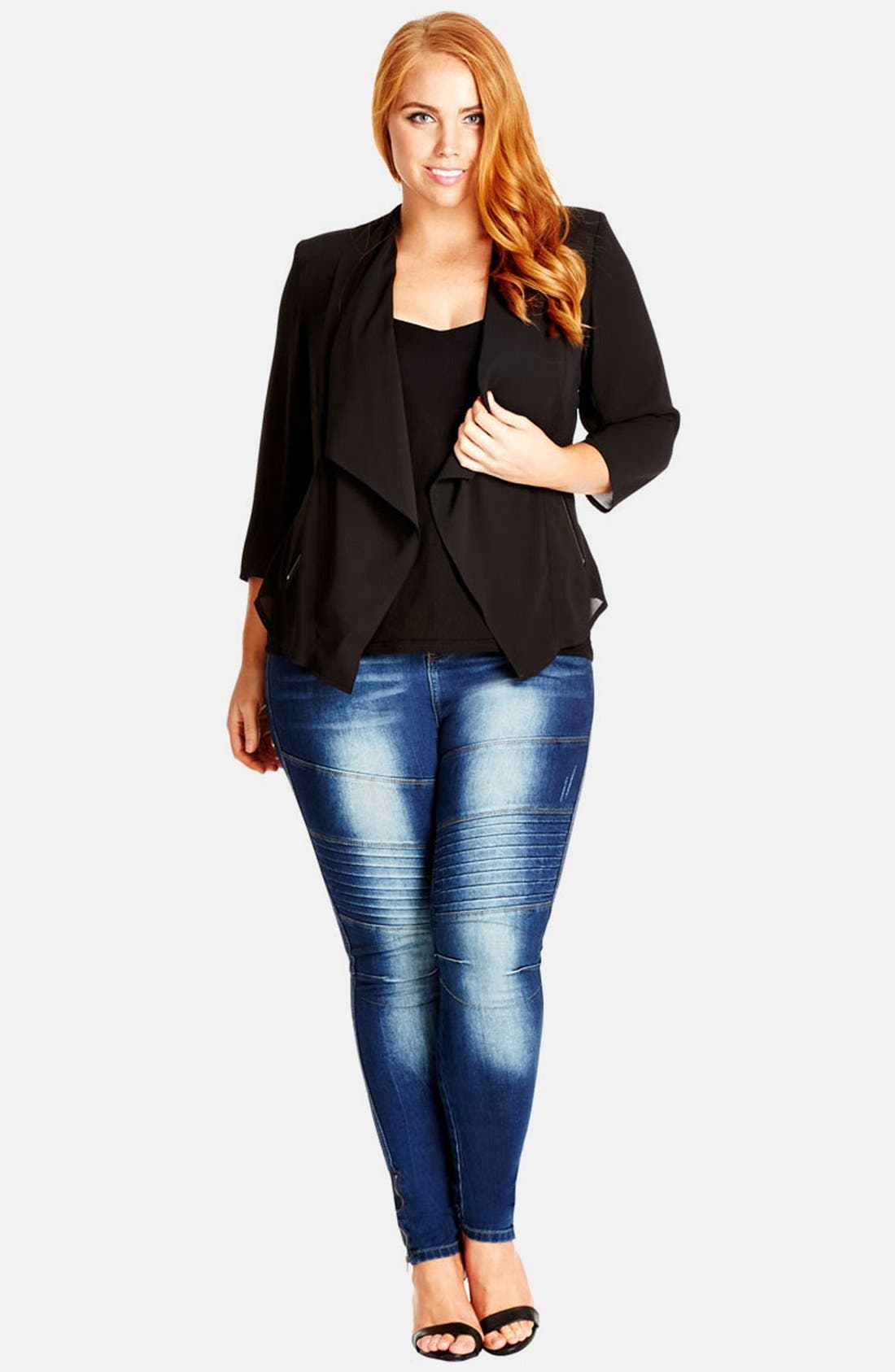 Alternate Image 3  - City Chic 'MX Apple' Stretch Skinny Jeans (Medium Denim) (Plus Size)