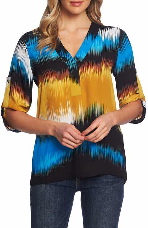 476b5f2422cdc7 Chaus Oasis Waves Split Neck Blouse