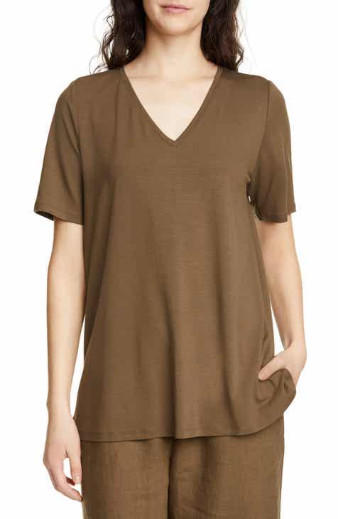 36e96ca39c296c Eileen Fisher Short Sleeve Swing Top