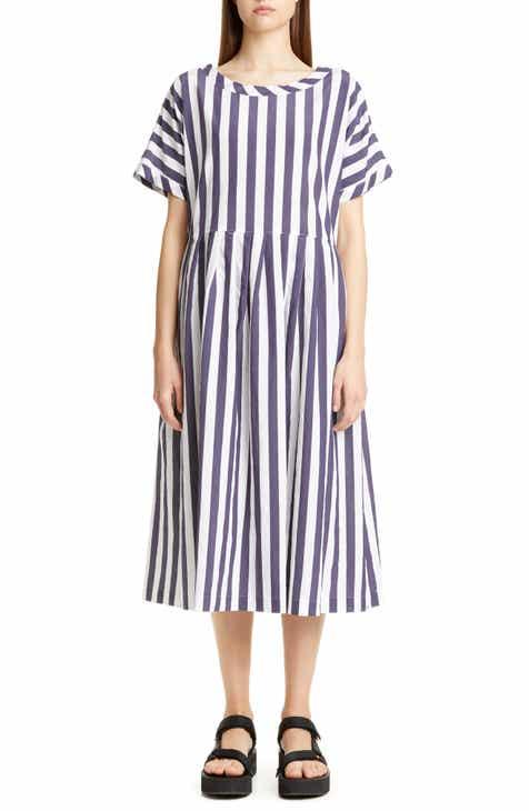 Tricot Comme des Garçons Stripe Short Sleeve Midi Dress by TRICOT COMME DES GARCONS