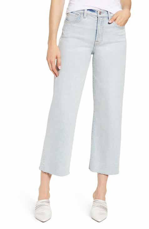 440f32afc5e54c 7 For All Mankind® Alexa Frayed Crop Wide Leg Jeans (Luxe Vintage Cloud)
