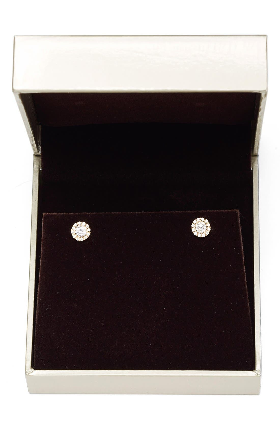 Precious Metal Plated 0.50ct tw Cubic Zirconia Stud Earrings,                             Alternate thumbnail 3, color,                             Gold