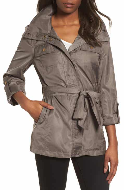 Caslon® Cinch Waist Linen Blend Utility Jacket (Regular, Petite & Plus Size) by CASLON