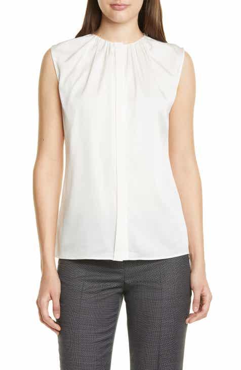 cd9a1c29a12d45 BOSS Binora Shirred Neck Sleeveless Stretch Silk Top