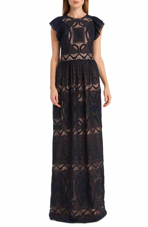 6f5e5c7140d ML Monique Lhuillier Embroidered Flutter Sleeve Chiffon Evening Gown