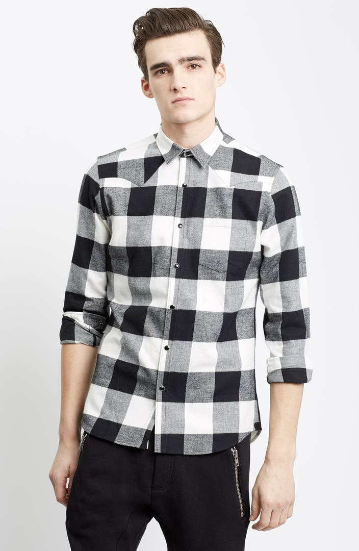 The kooples trim fit buffalo check flannel western shirt for Trim fit flannel shirts