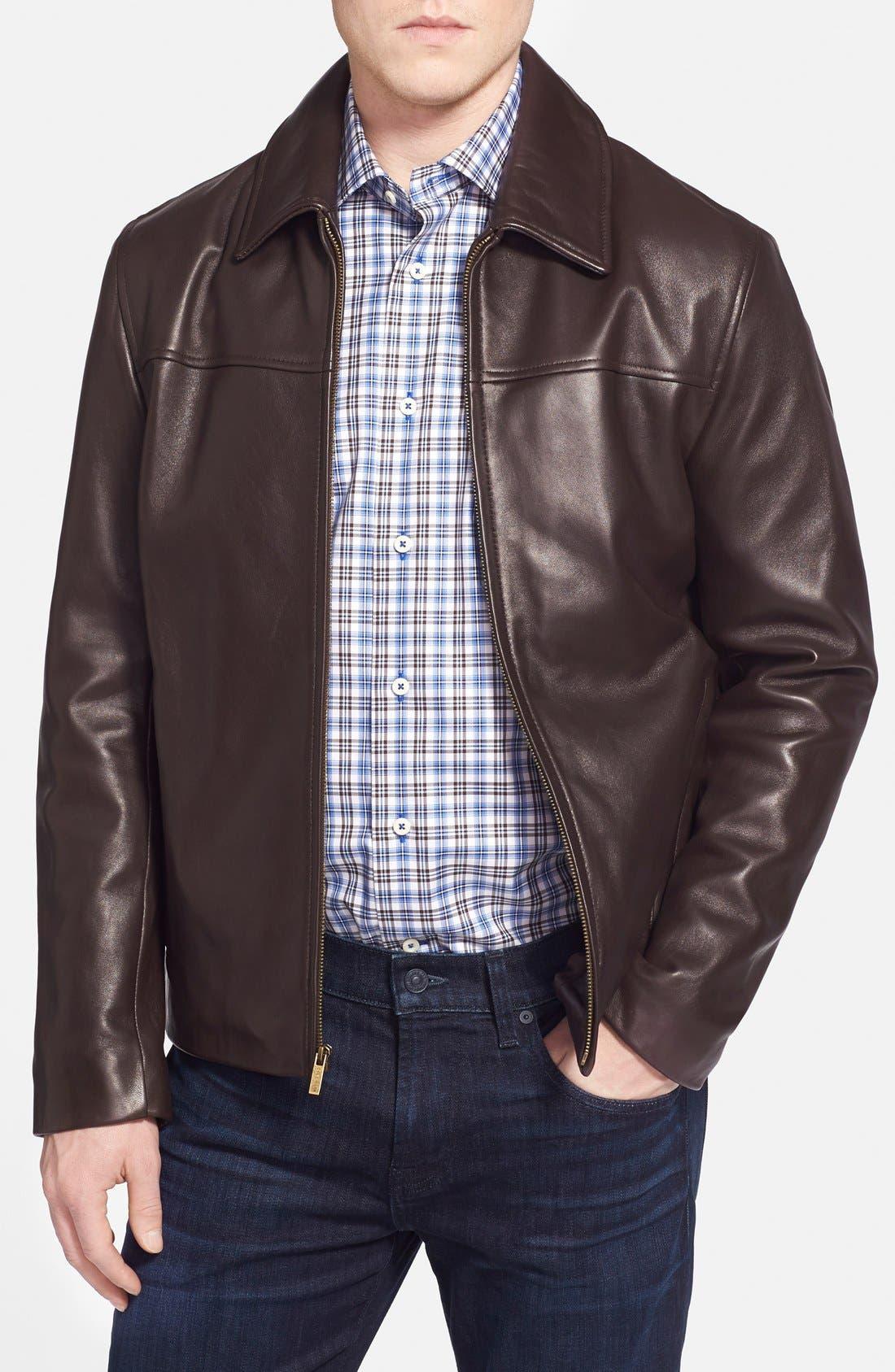 Lambskin Leather Jacket,                             Main thumbnail 1, color,                             Java