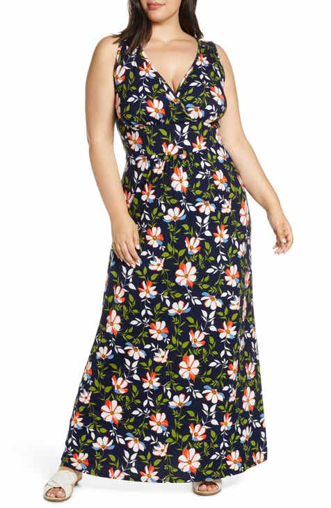 Loveappella Floral Halter Neck Maxi Dress (Plus Size)