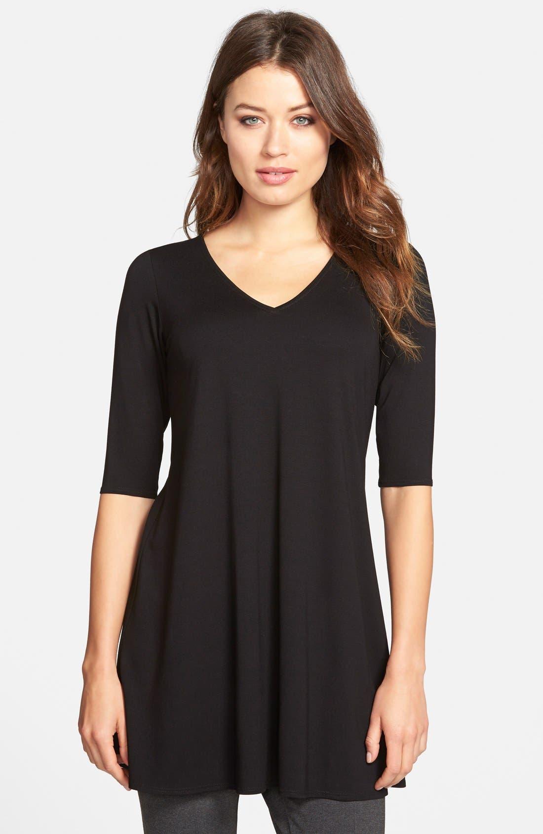V-Neck Tunic,                         Main,                         color, Black