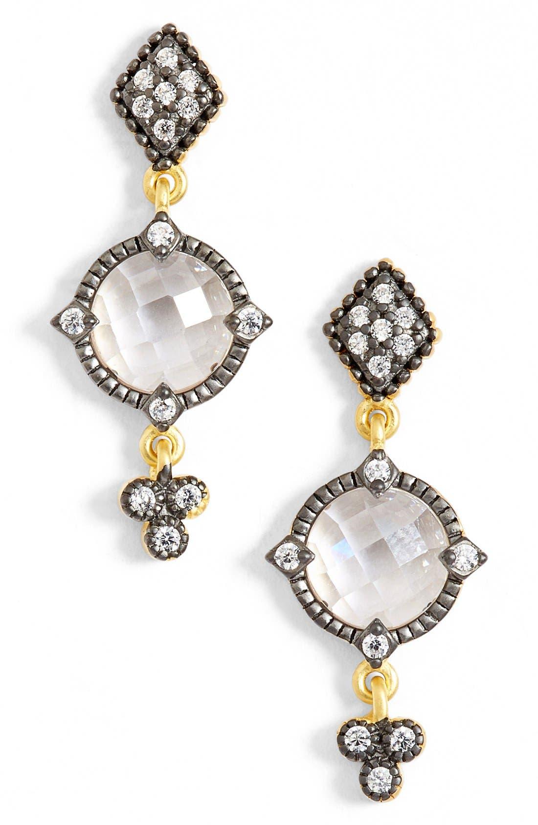 Metropolitan Drop Earrings,                             Main thumbnail 1, color,                             Gunmetal/ Clear