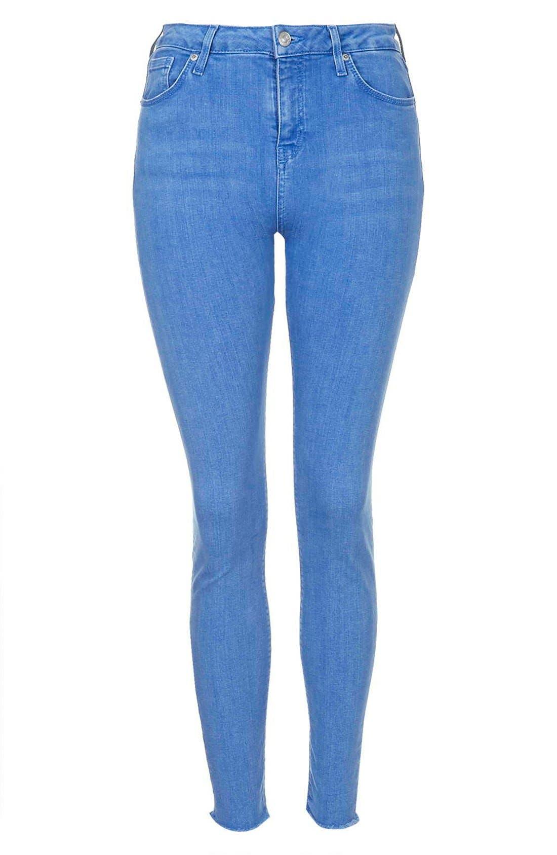 Alternate Image 3  - Topshop Moto 'Jamie' High Waist Skinny Jeans (Blue) (Short)