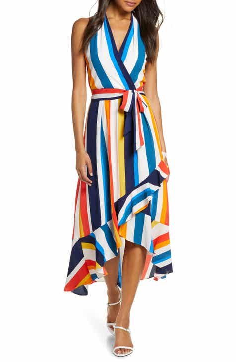 Julia Jordan Striped Halter Maxi Sundress
