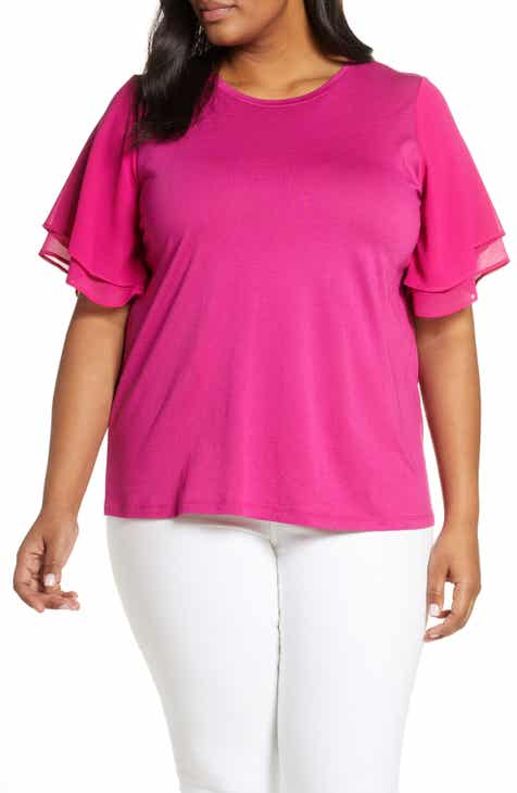 6f64e60d55cb51 MICHAEL Michael Kors Mix Media Flutter Sleeve Cotton Blend Tee (Plus Size)