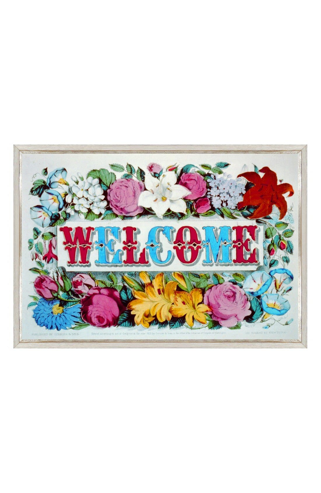 'Welcome' Framed Print,                         Main,                         color, White