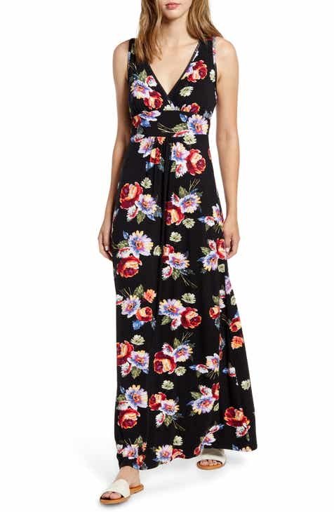 Loveappella Floral Print Maxi Dress