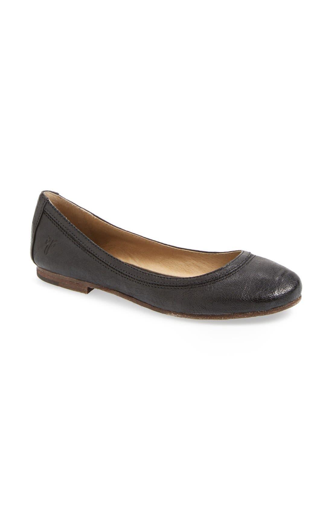 'Carson' Ballet Flat,                             Main thumbnail 1, color,                             Black/ Black Leather