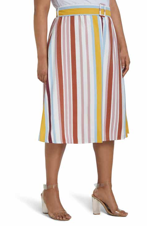 ELOQUII Stripe Belted Midi Skirt (Plus Size) by ELOQUII