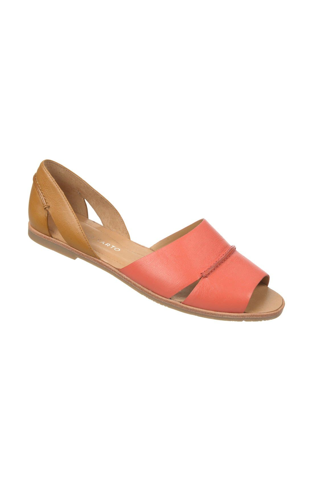 'Vivace' Leather d'Orsay Flat,                         Main,                         color, Coral/ Tan