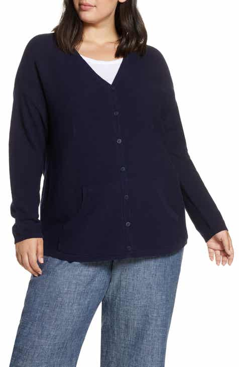 de9f0d78db03 Eileen Fisher V-Neck Cardigan Sweater (Plus Size)