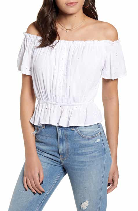 a471dbf829f3e7 Angie Off the Shoulder Eyelet Top