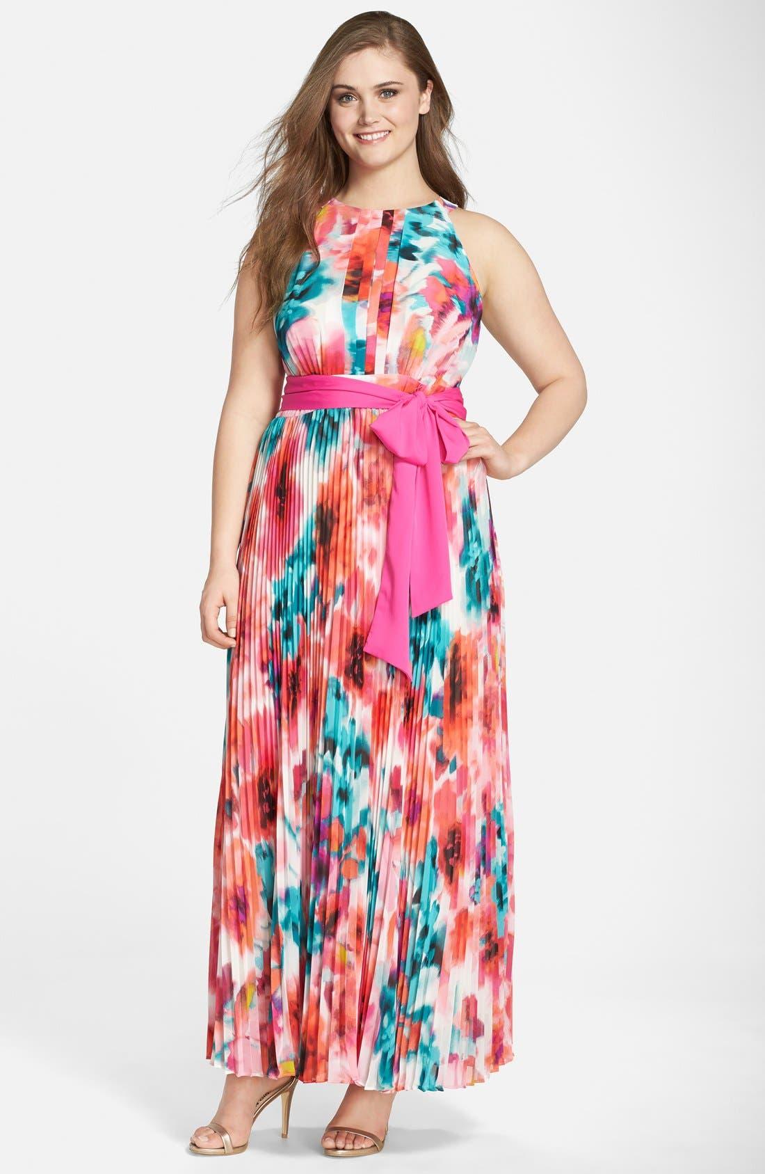 eliza j print pleated halter maxi dress  plus size