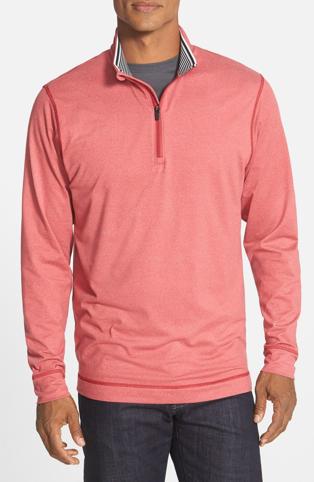 'Topspin' DryTec Half Zip Pullover,                             Main thumbnail 1, color,                             Cardinal Red Heather