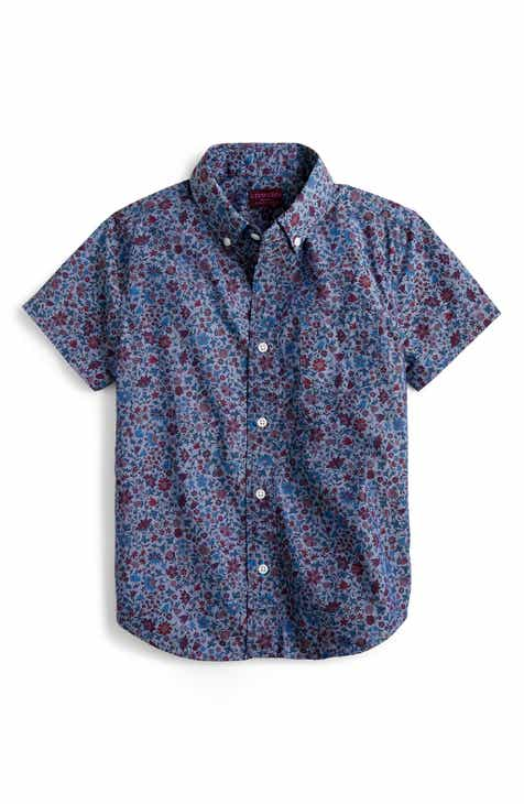 crewcuts by J.Crew Liberty® Colombo Short Sleeve Button-Down Shirt (Toddler Boys, Little Boys & Big Boys)
