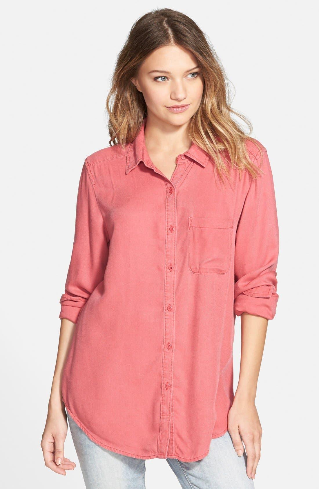 Washed Chambray Shirt,                         Main,                         color, Red Beauty
