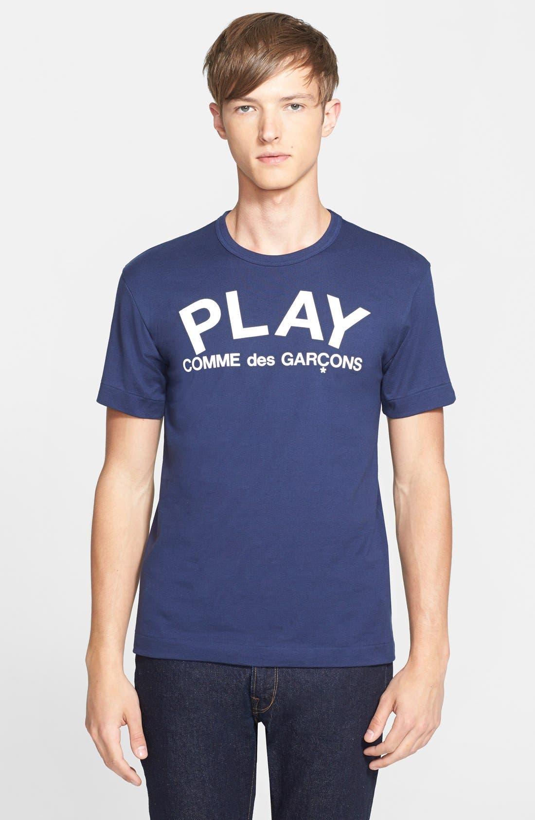 PLAY Graphic T-Shirt,                             Main thumbnail 1, color,                             Navy