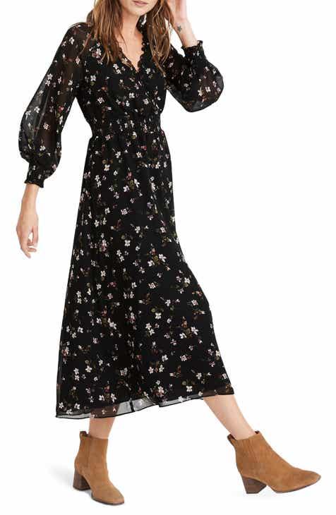 Madewell Backyard Blooms Georgette Smocked Midi Dress (Regular & Plus Size)
