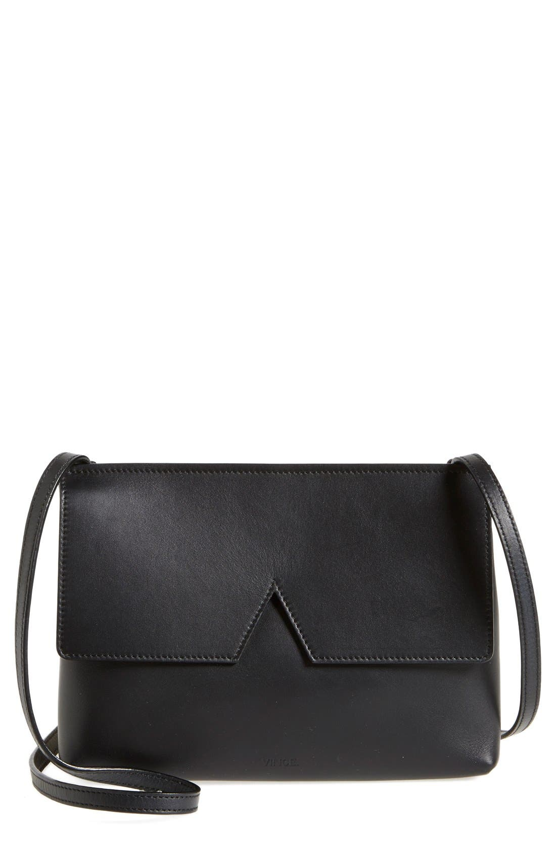 'Signature Collection - Small' Leather Crossbody Bag,                             Main thumbnail 1, color,                             Black