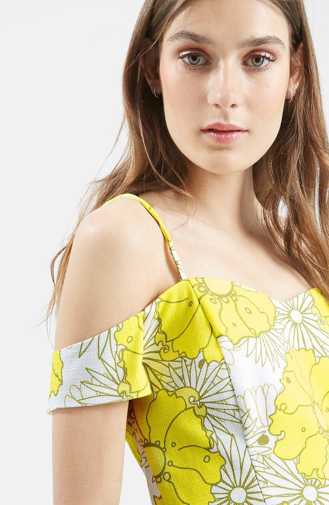 Alternate Image 4  - Topshop Floral Print Cold Shoulder Top (Regular & Petite)