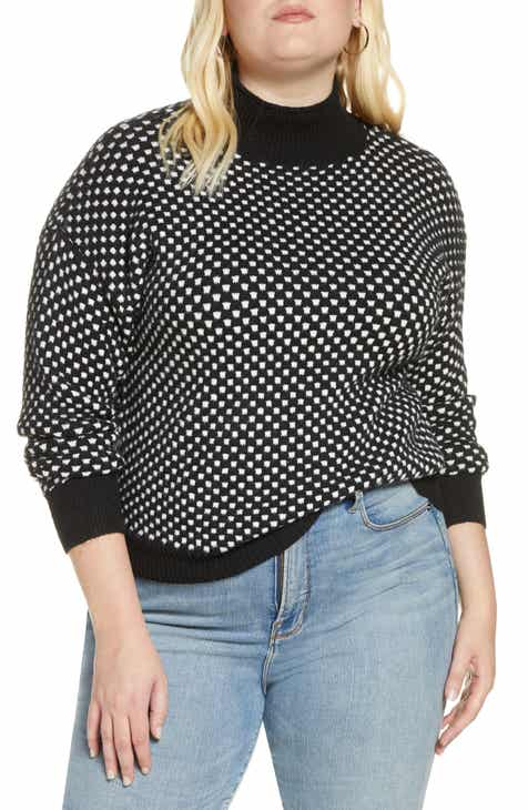 BP. Check Mock Neck Sweater (Plus Size)