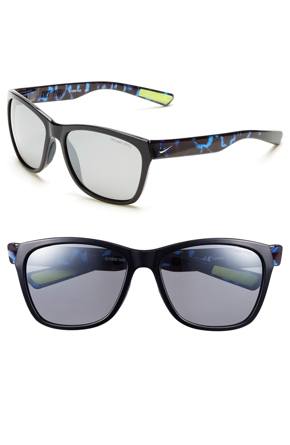 'Vital' 58mm Sunglasses,                             Main thumbnail 1, color,                             Black/ Game Royal Tortoise