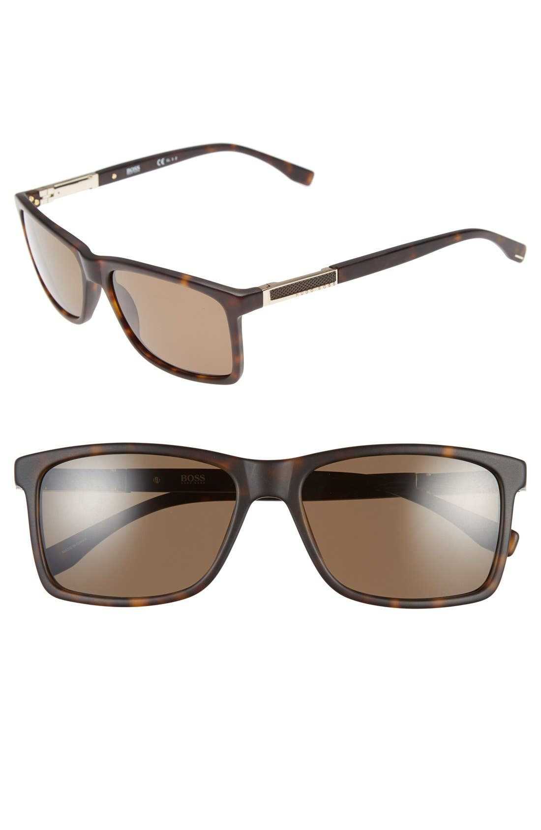 '0704PS' 57mm Polarized Sunglasses,                         Main,                         color, Dark Havana/ Light Gold/Bronze