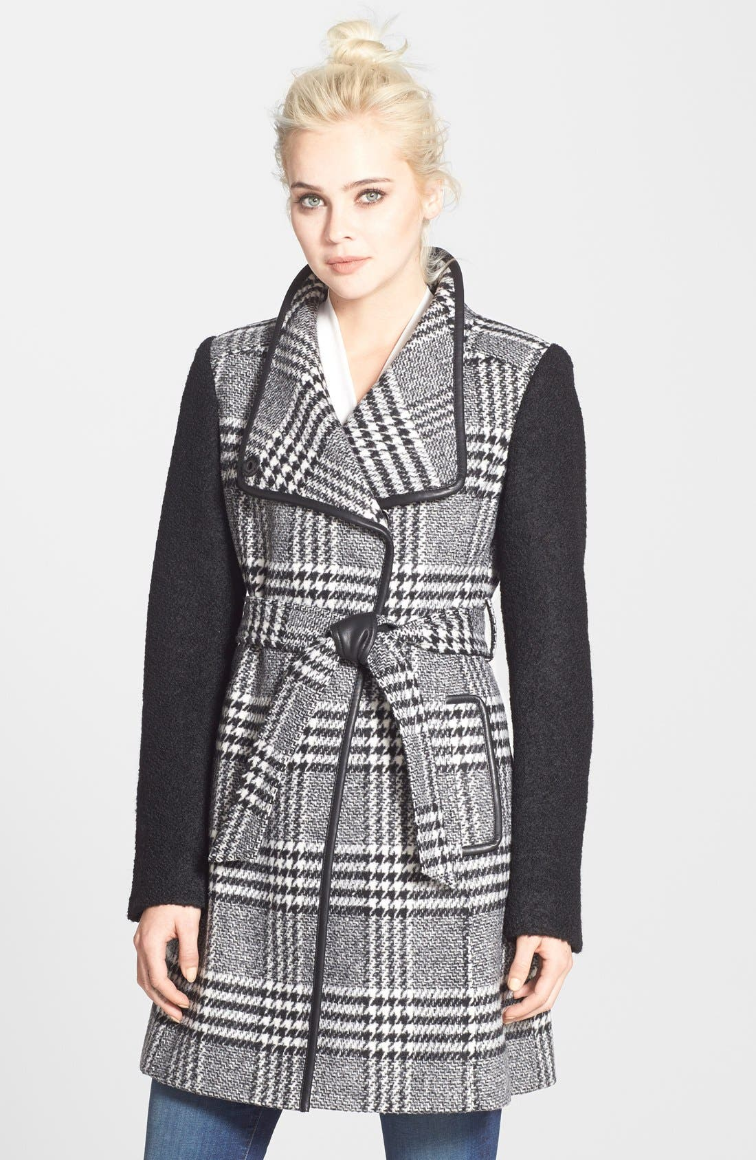 Main Image - GUESS Bouclé Sleeve Plaid Wrap Coat (Regular & Petite)