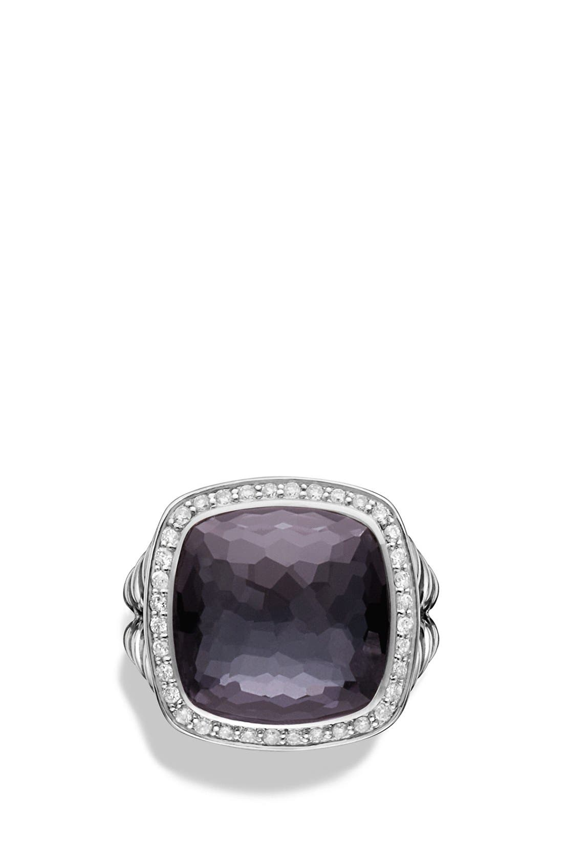 'Albion' Ring with Semiprecious Stone and Diamonds,                             Alternate thumbnail 4, color,                             Amethyst/ Hematine