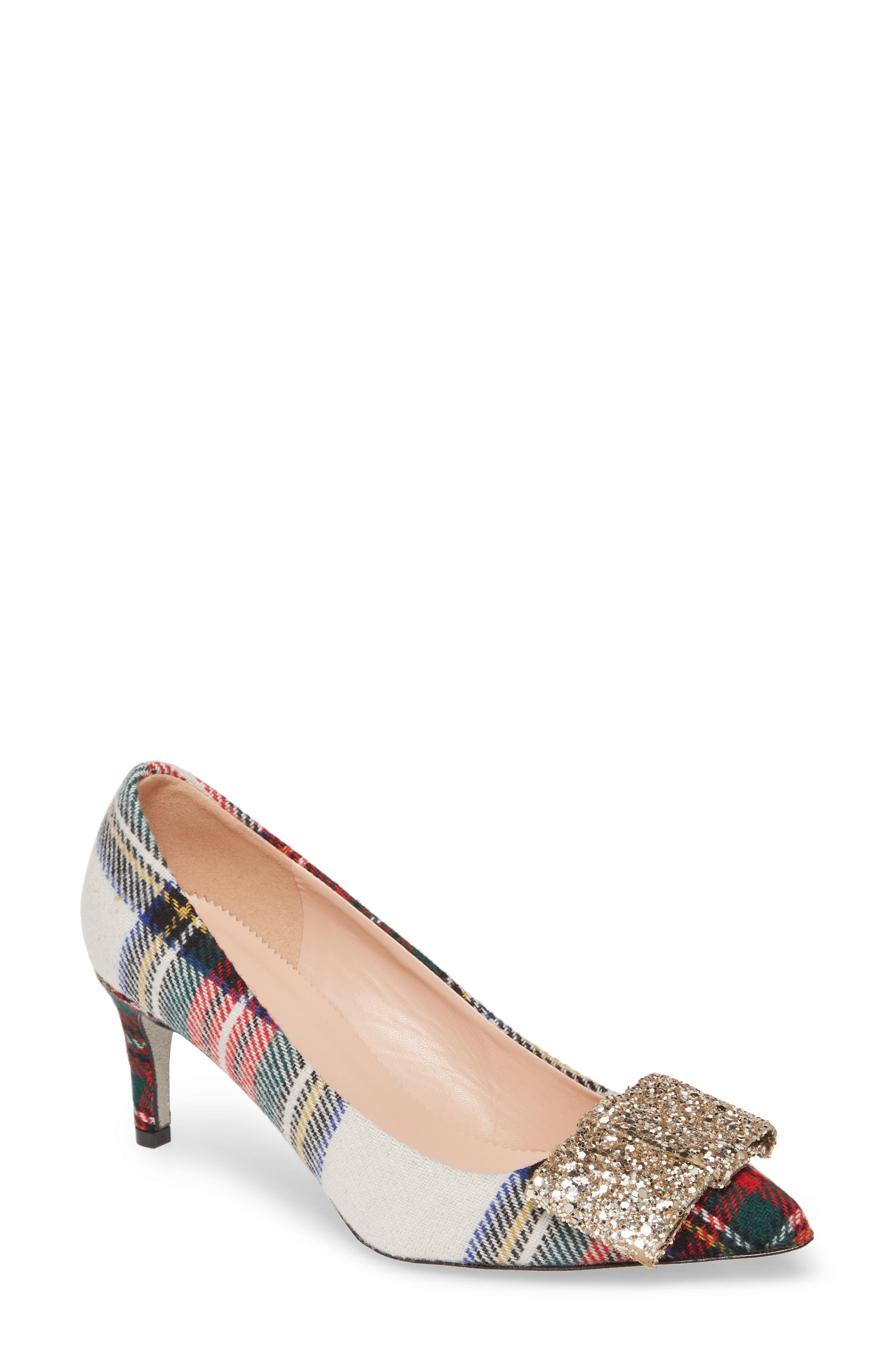 Purple Round Toe Sequin Chunky High Heeled Shoes