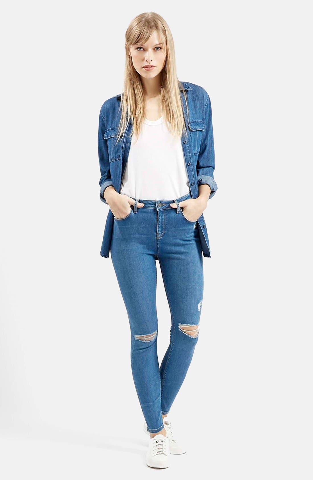Alternate Image 5  - Topshop Moto 'Jamie' High Rise Skinny Jeans (Mid Denim) (Regular & Petite)