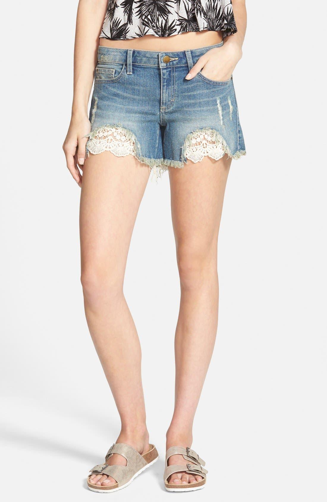 Main Image - SP Black Crochet Trim Cutoff Denim Shorts (Medium)