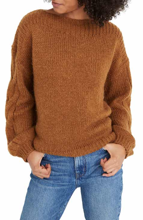 Madewell Cable Sleeve Boat Neck Sweater