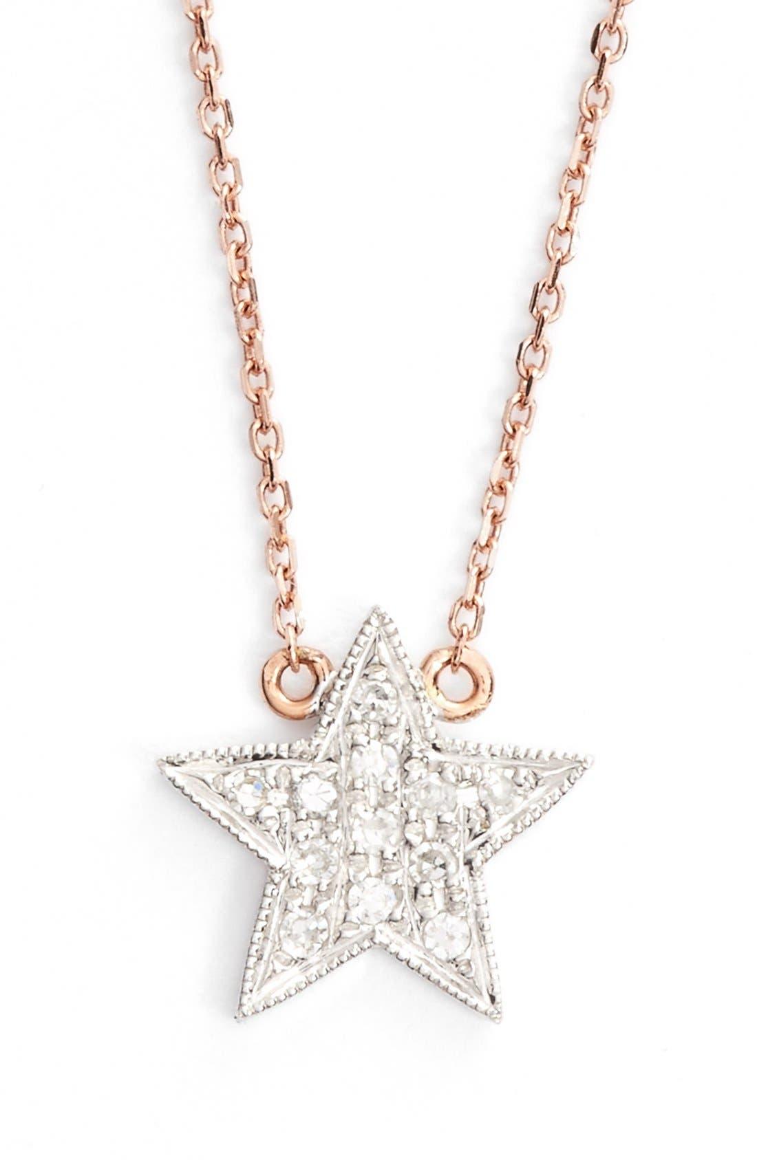 'Julianne Himiko' Diamond Star Pendant Necklace,                             Main thumbnail 1, color,                             Rose Gold/ White Gold