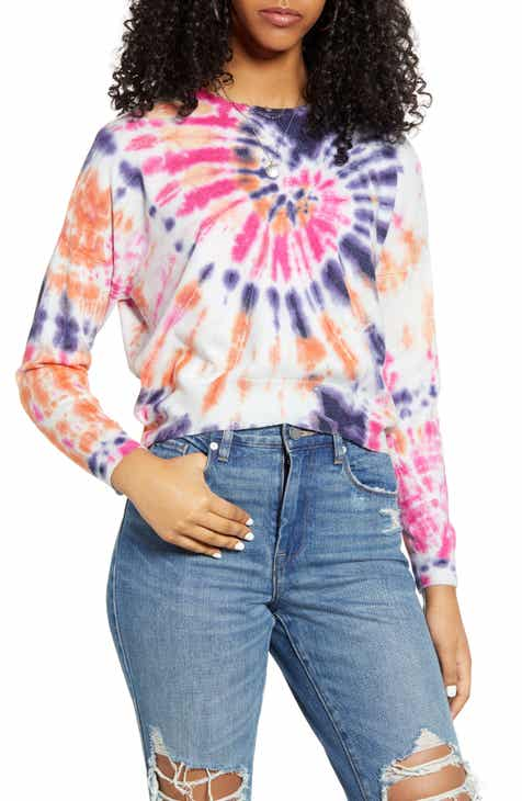 BLANKNYC Rainbow Tie Dye Crop Sweater