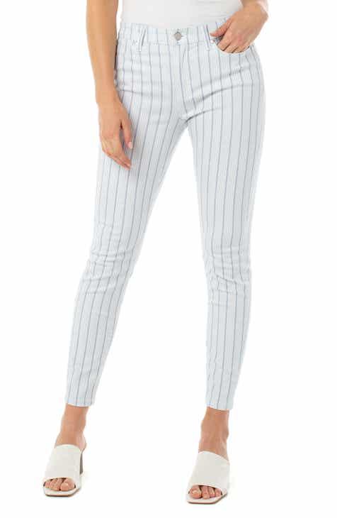 Liverpool Abby Stripe Ankle Skinny Jeans (Blue Dot Stripe)