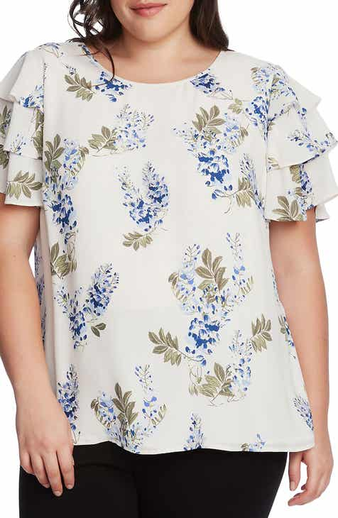Vince Camuto Weeping Willows Floral Tiered Sleeve Georgette Top (Plus Size)