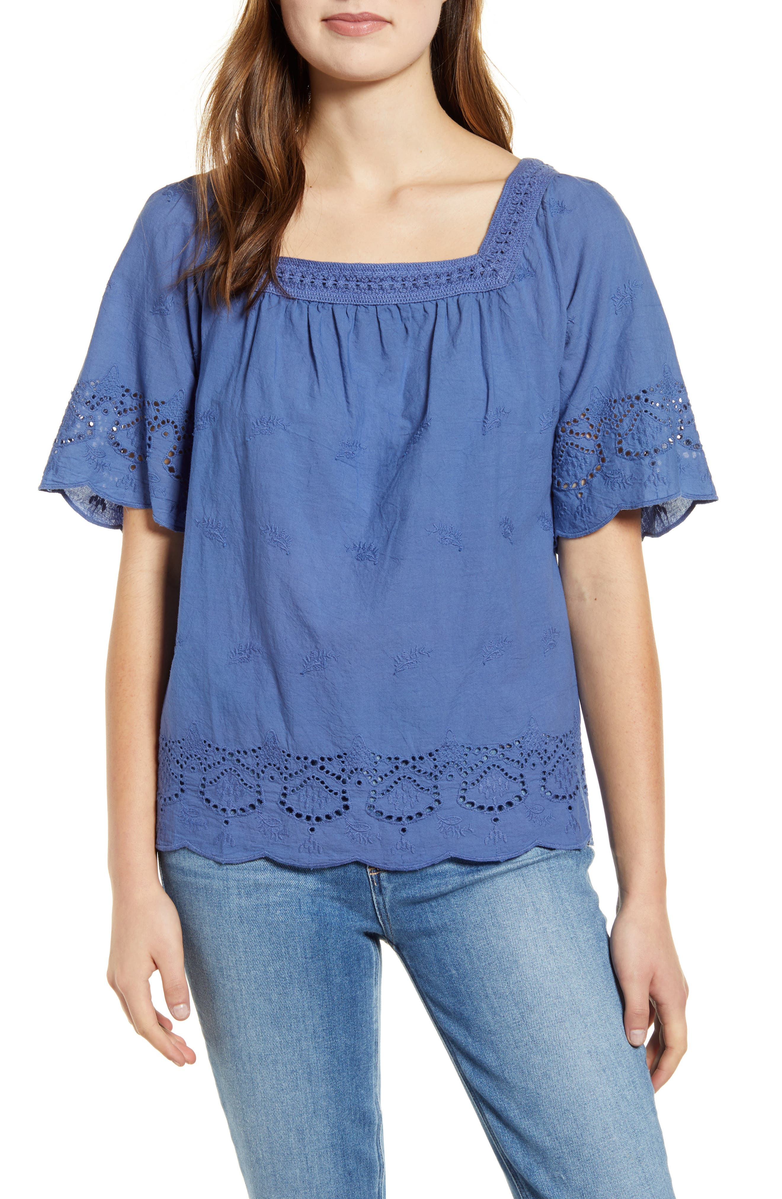 NEW Lucky Brand Romantic Peasant Blouse Women/'s Size Large White $70