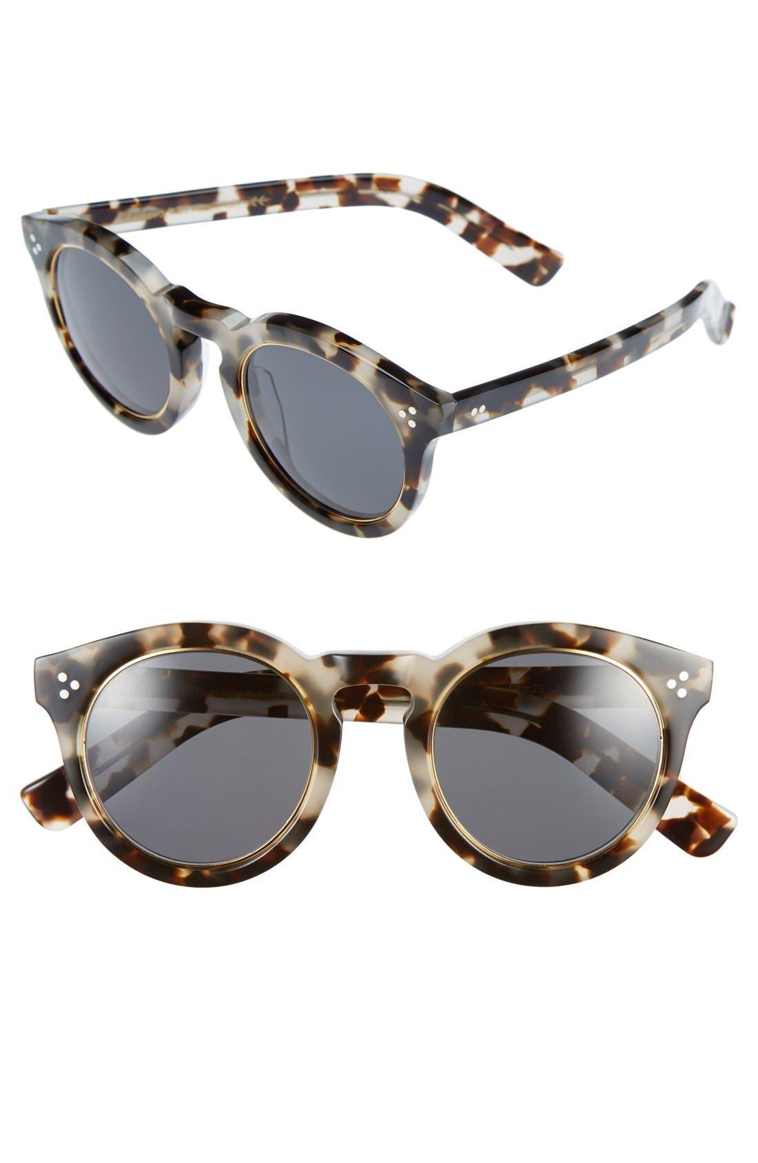 'Leonard II' 50mm Round Mirrored Sunglasses,                         Main,                         color, White Tortoise/ Gold Rim