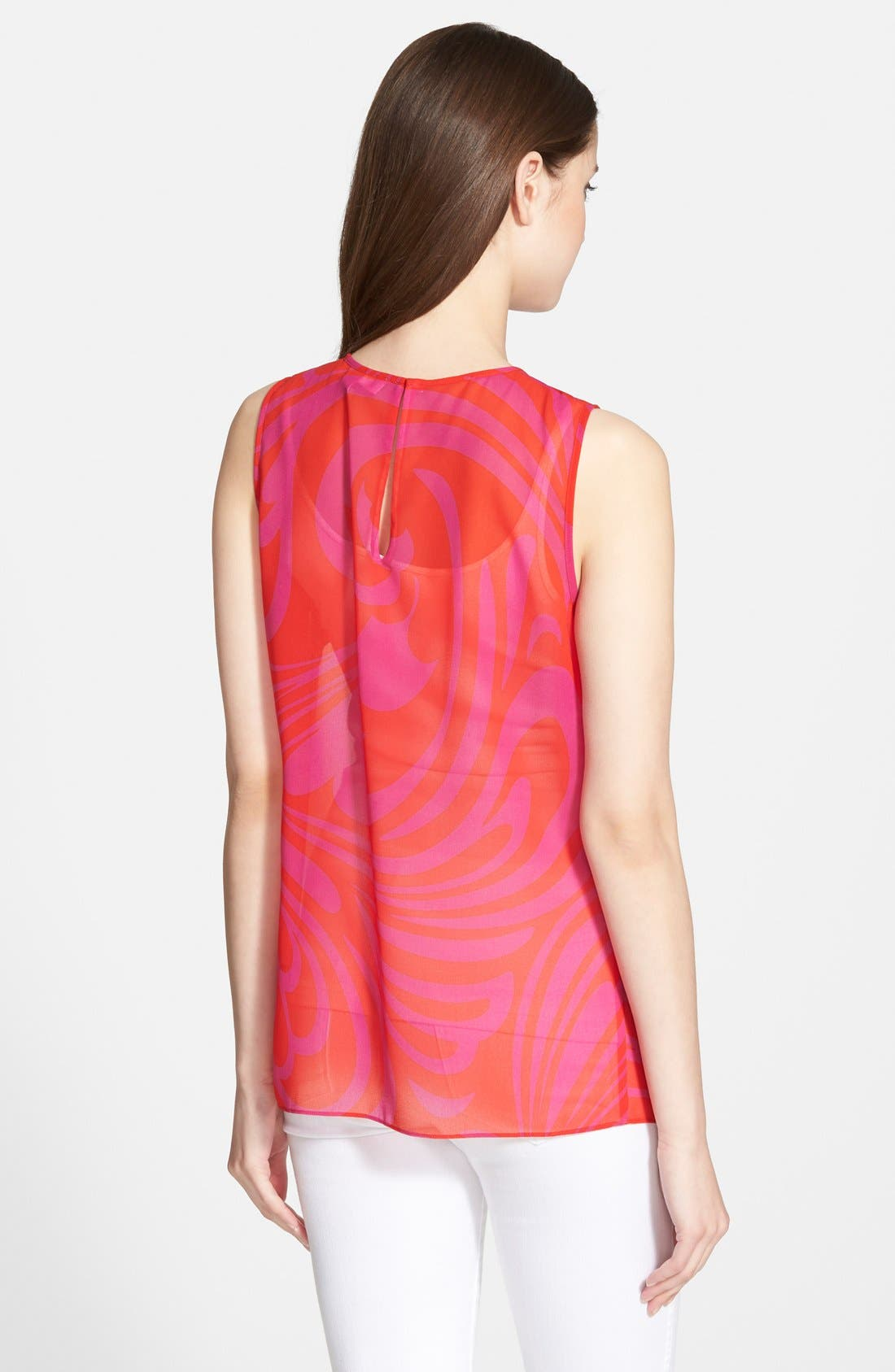 'Cynthia Paisley' Sleeveless Pleat Front Top,                             Alternate thumbnail 2, color,                             Radiant Pink
