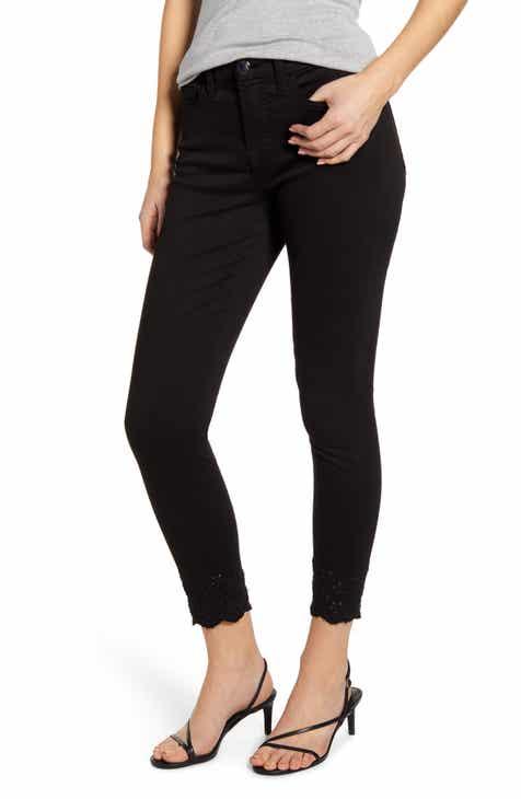 JEN7 by 7 For All Mankind High Waist Eyelet Hem Ankle Skinny Jeans