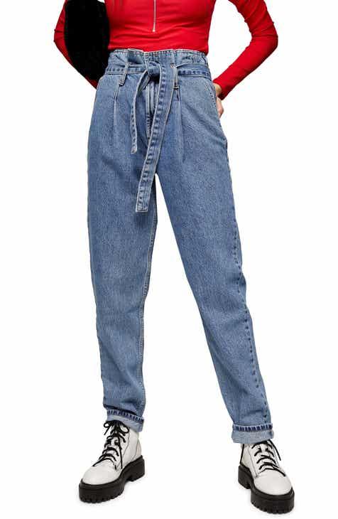 Topshop Paperbag Waist Mom Jeans